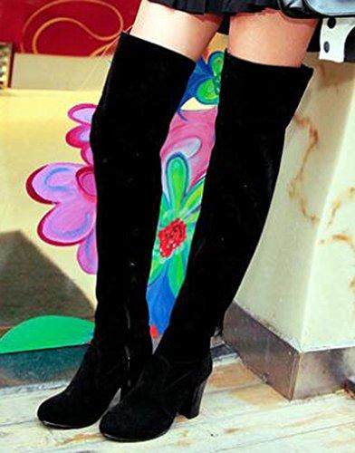 Idifu Scarpe Da Donna Con Tacco Alto A Tacco Alto In Pelle Scamosciata Con Finta Pelle Scamosciata Nera
