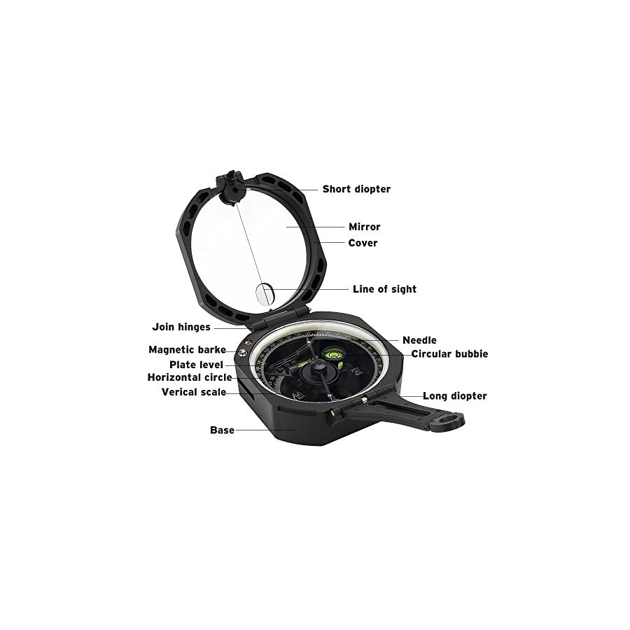 Compass Tsumbay Pocket Transit Lightweight Compass Fluorescent Multi Function with Carrying Case for geologists Surveyors Foresters Black