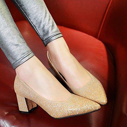 Aisun Donna Scintillante Paillettes Dressy Scarpe A Punta Taglio Basso Elegante Slip On Mid Tacchi Alti Scarpe Da Sposa Partito Scarpe Oro