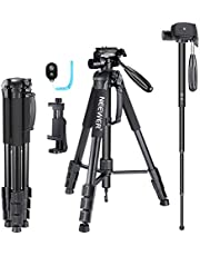Neewer 70 inches Aluminium Camera Tripod Monopod with 3-Way Swivel Pan Head,Cellphone Holder,Remote,Bag for iPhone,Samsung,Huawei Smartphone,DSLR Camera,Load Up to 8.8 Pounds Red (SAB264)