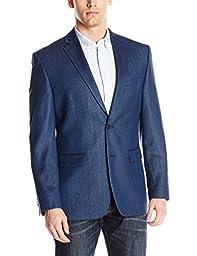 Vince Camuto Men\'s Two Button Modern Fit Texture Mini Check Blazer, Blue, 40 Short