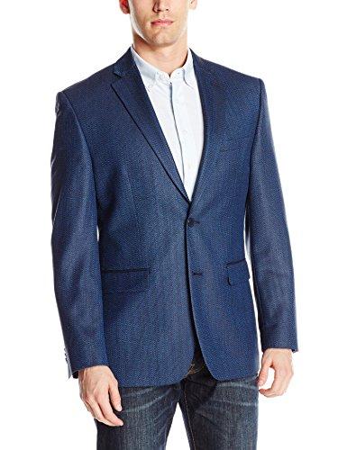 Blue Check Sport Coat - Vince Camuto Men's Two Button Modern Fit Texture Mini Check Blazer, Blue, 42 Regular