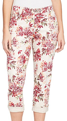 Bandolino Women's Karyn Slim Boyfriend Capri with Roll Cuff, Creamstone Ink Blown Flower, 14