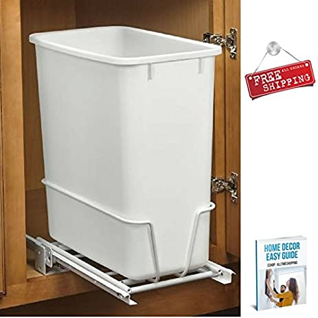 Under Cabinet Trash Can Kitchen Waste Bin Slide Out Plastic White  Rectangular Vertical Horizontal U0026 EBook