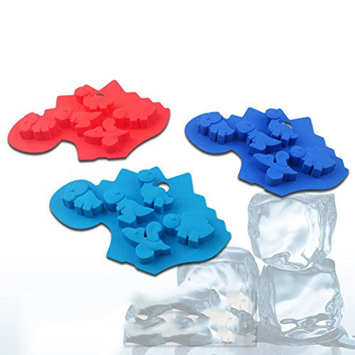 Always Your Chef 3 Pack 5 Cavities Dinosaur Shaped Silicone Cake Baking Mold Cake Pan Muffin Cups Biscuit Chocolate Ice Cube Tray DIY Mold,3 Colors (Dinosaur Cupcake Pan compare prices)