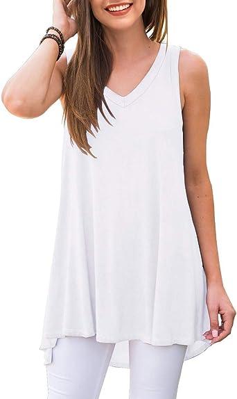 QZUnique Womens 3//4 Sleeve Casual Deep V Neck Tunic Tops Summer Blouse Shirts T-Shirts