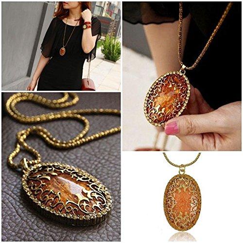 (1pc Womens Elegant Jewelry Oval Amber Hollow Rhinestone Long Chain Pendant Necklace)