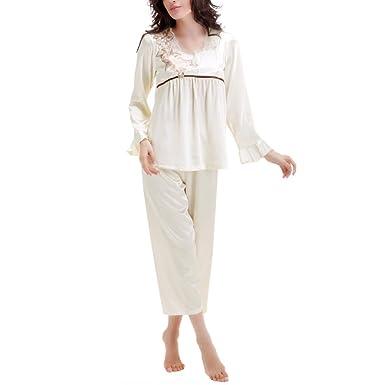 aed0405974a4 Women s Long Sleeve Silk Pajamas Set Summer Sexy Lace Pants Pajamas Soft  Comfort PJ s Nightwear