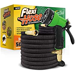 """Flexi Hose Upgraded Expandable Garden Hose, Extra Strength, 3/4"""" Solid Brass Fittings - The Ultimate No-Kink Flexible Water Hose, 8 Function Spray Included (Black)"""