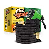 Flexihose Upgraded Expandable Garden Hose, Extra Strength, 3/4'' Solid Brass Fittings - The Ultimate No-Kink Flexible Water Hose, 8 Function Spray Included (Black)