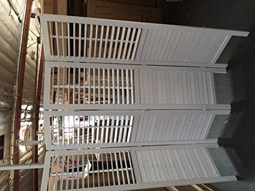 - SQUARE FURNITURE 4 Panel Wood Screen Room Dividers with Blinds Shades Shutters - White