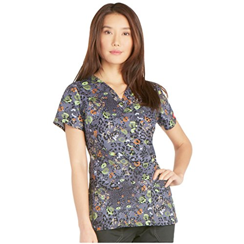 Animal Print Scrub Tops (Gen Flex By Dickies Women's Youtility V-Neck Animal Print Scrub Top Small Print)