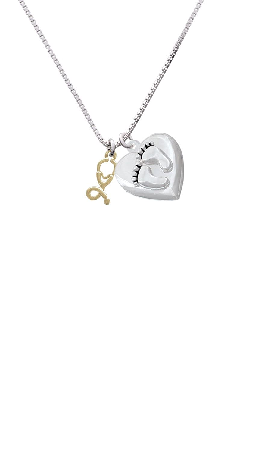 Delight Jewelry Gold Tone Stethoscope Custom Engraved Baby Feet Heart Locket Necklace