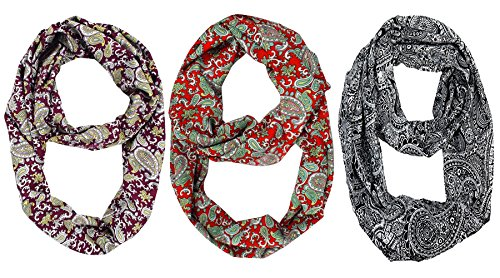 Peach Couture Womens Fashion Bohemian Infinity Scarves Funky Paisley Value - India Online Sale Discount