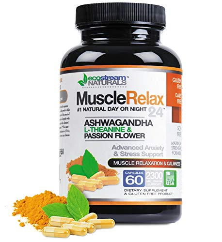 MuscleRelax 24/7 by EcoStream Naturals | Supports Muscle Relaxation | Day or Night Use | Naturally Derived Ingredients | Safe & Effective | Gluten-Free | 60 Vegetarian Capsules (Best Herbal Muscle Relaxer)