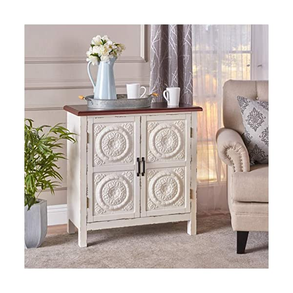 Christopher Knight Home Alana Firwood Cabinet with Faux Wood Overlay, Distressed White / Brown