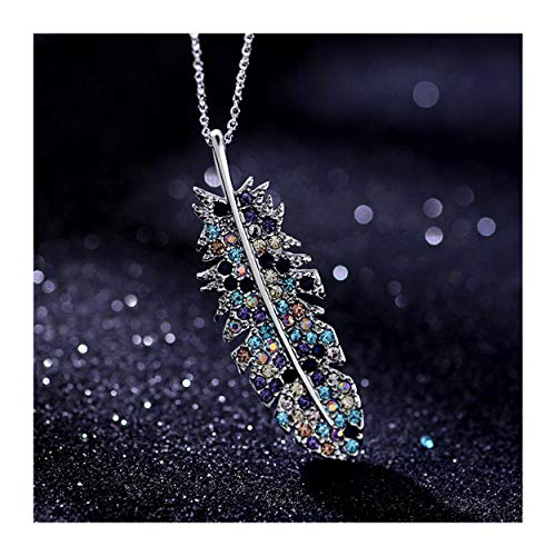 MIXIA Double Crystal Feather Leaf Pendant Necklaces Rainbow Color Leaves Star Tassel for Women Friend Party Jewelry (Colorful)
