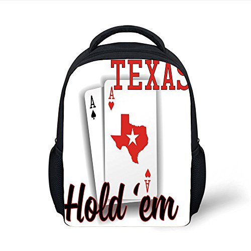 iPrint Kids School Backpack Poker Tournament Decorations,Texas Holdem Theme Pair ACES Map Winning Hand Decorative,Red Black White Plain Bookbag Travel Daypack