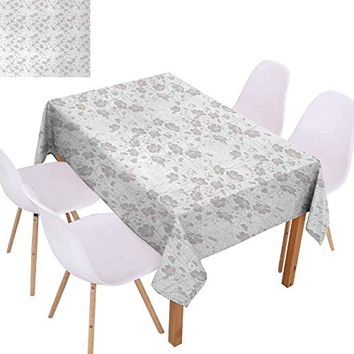 UHOO2018 Grey,Rectangle Tablecloth,Natural Beauty Flower Hand Drawn Peonies Bouquet Florets Romantic Feminine Home Design,Oil-Proof Spill-Proof and Water,Light,60