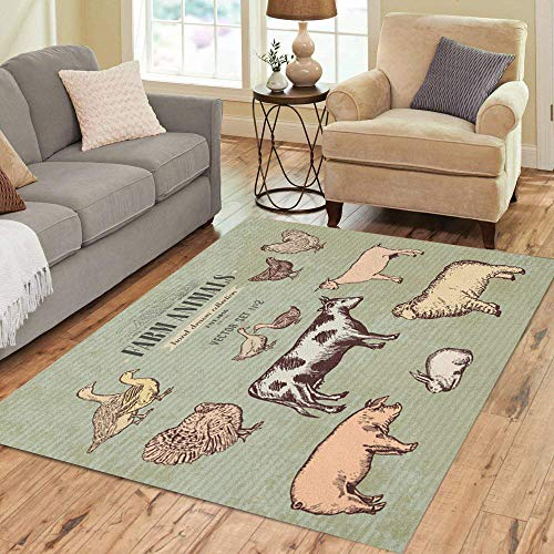 Pinbeam Area Rug Farm Animals Vintage Collection Cow Pig Goat Sheep Home Decor Floor Rug 5