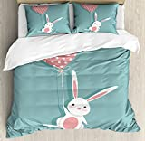 Cute Duvet Cover Set Queen Size by Lunarable, Sweet Bunny Holding a Heart Shaped Balloon with Dots Romantic Rabbit In Love, Decorative 3 Piece Bedding Set with 2 Pillow Shams, Coral Seafoam White
