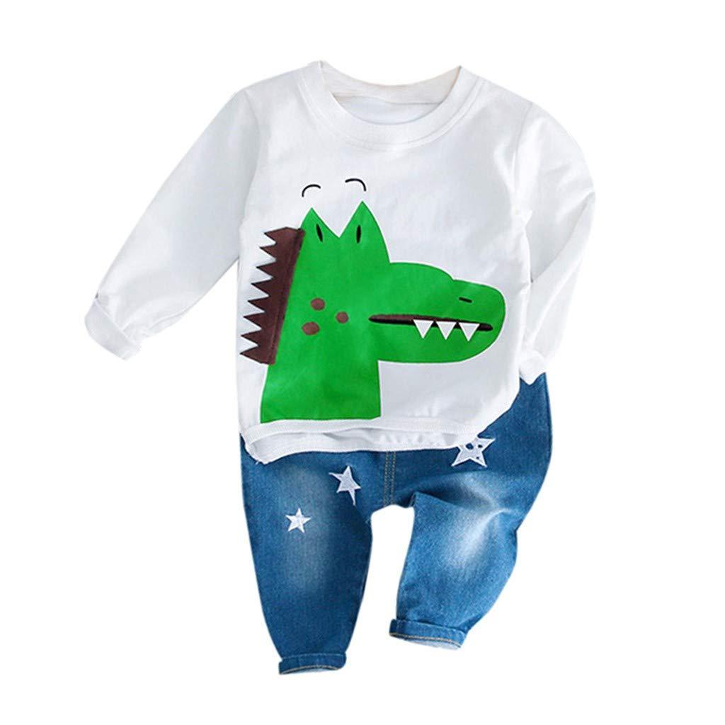 Kids Baby Boys Round Collar Long Sleeve Cartoon Crocodile Casual Pullover T-Shirt+Stars Jeans Long Pants Playwear Set