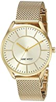 Nine West Women's NW/1922CHGB Gold-Tone Mesh Bracelet Watch