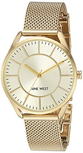 Nine West Women's NW/1922CHGB Gold-Tone Mesh Bracelet Watch