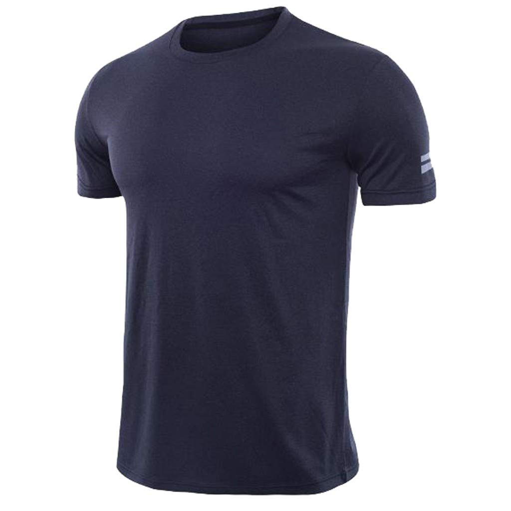 PASATO Mens Fitness Short Sleeves Tops Tee Rashguard T-Shirt Bodybuilding Skin Tight-Drying Shirt(Navy,S=US:XS)