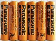 Panasonic HHR-75AAA/B-6NI-MH Baterías recargables para teléfonos inalámbricos, 700mAh (Pack de 6)