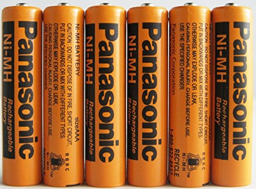 Panasonic HHR-75AAA/B-6 Ni-MH Rechargeable Battery for Cordless Phones, 700 mAh (Pack of 6)