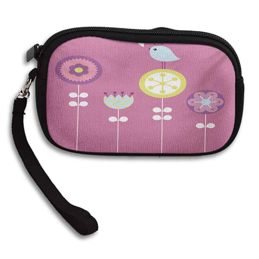 Kids Wallets Bird Chirping Hearts Sitting on Flower Tulip Daisy Dandelion Inspirational Baby Design W 5.9x L 3.7 Purse Handbag For Women