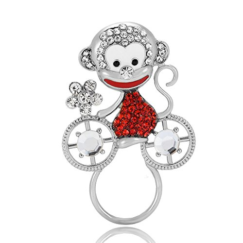 Pin Brooch Bike (PANGRUI Exquisite Cute Smiling Monkey on a Bike Eyeglass Holder Brooch Pin with Crystal Rhinestones (Silver))