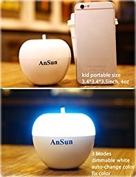 AnSun LED Night Light, Dimmable +7 Color Change +Touch Control +Breathing Sensor Portable Nursery Bedside Lamp, Children Room Decorations, Baby Toy, Ideal Gift for Kids Boys Girls Ladies Father