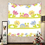 Gzhihine Custom tapestry Kids Tapestry Cartoon Character Bees Tulip and Daisy Flowers Snails Garden Pattern for Bedroom Living Room Dorm Baby Blue Light Green Yellow