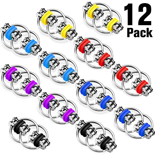 12 Pieces Fidget Chain Flippy Fidgets Toy Bike Chain Stress Relief Great for ADHD, ADD, Anxiety in Classroom, Office…