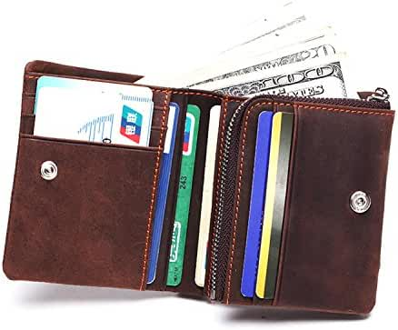 DUEBEL RFID Blocking Tri-Fold Mens Genuine Leather Wallet Holder Case Protector - Holds 9 Credit Cards + 1 ID Window + 1 Bill Compartment + 1 Zipper Pocket