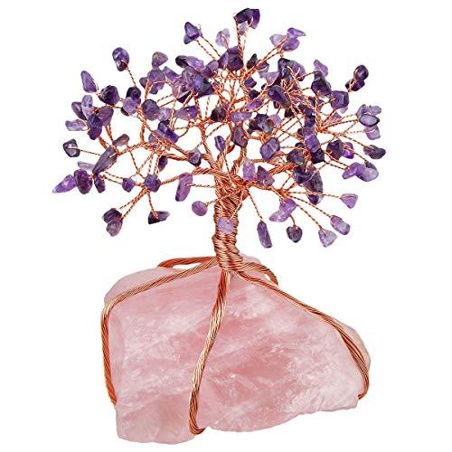 Nupuyai Natural Quartz Crystal Money Tree Healing Rose Crystal Tree Quartz Cluster Base Bonsai Sculpture Figurine 2.3 Inch