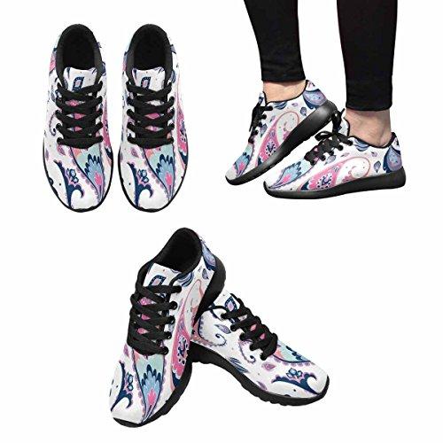 Interestprint Femmes Jogging Running Sneaker Léger Aller Facile Confort De Marche Sport Chaussures De Course Paisley Et Floral Multi 1
