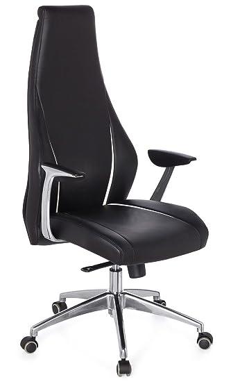 Bürosessel mit liegefunktion  hjh OFFICE 600150 Bürostuhl Chefsessel CARMINO 20 Leder schwarz ...