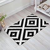 Black And White Geometric Door Mats Kitchen Floor Bath Entrance Rug Mat Absorbent Indoor Bathroom Decor Doormats Rubber Non Slip 32'' x 20''