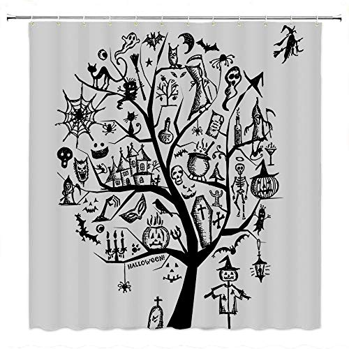 SATVSHOP Fabric-Bathroom-Set-with-Hooks-Be-Awesome-Quote-with-12-Hooks-Sketch-Style-Halloween-Tree-with-Spooky-Objects-and-Wicked-Witch-on-B-Black-White.W84-x-L72-inch