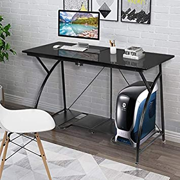 Tangkula Folding Desk, Foldable Computer Desk, Heavy Duty Home Office Desk, Space Saving Computer Desk, Spacious Laptop Workstation, Simple Compact Study Writing Table, Black Black