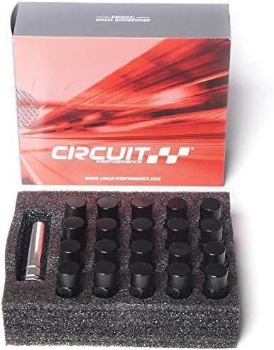 Circuit Performance 鍛造スチール 拡張ヘックスラグナット アフターマーケットホイール用 1/2インチ-20 ブラック 20個セット + ツール
