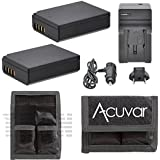 2 LP-E10 Replacement Batteries for Canon EOS Rebel 1100D, 1200D, Rebel T3, Kiss X50, T5 Camera + Car / Home Charger + Acuvar Battery Pouch