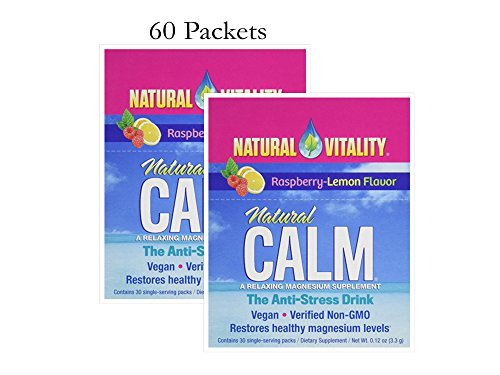 Natural Vitality Natural Calm, Magnesium, Packets (Raspberry Lemon, 60 Packets)