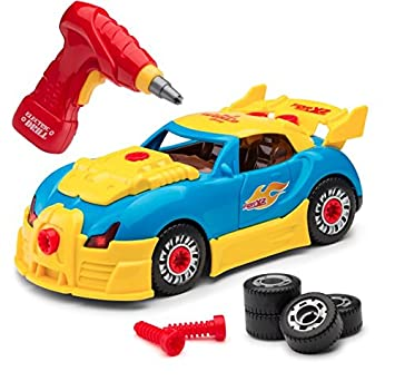 build your own 30 piece racing car toy for kids with sounds and lights