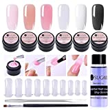 UR SUGAR 15ml Poly Extension Gel Kit 6 Boxes Poly Extension Gel Nail Extended Builder with Slip Solution, 100Pcs Tip Molds and Pen Brush+Gel Picker Tool Kit, All-in-One Master Kit