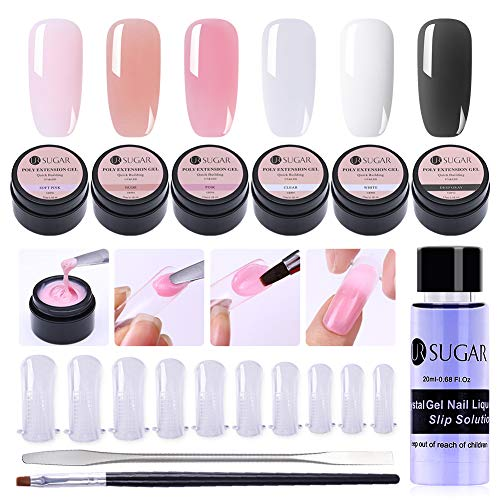 UR SUGAR 15ml Poly Extension Gel Kit -4 Boxes Poly Crystal Gel Nail Extended Builder with Slip Solution, 100Pcs Tip Molds and Pen Brush+Gel Picker Tool Kit, All-in-One Master Kit]()