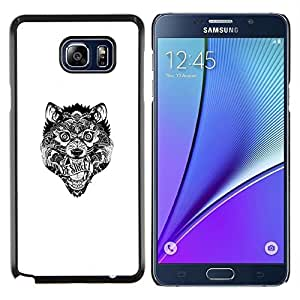 Lobo tribal loco- Metal de aluminio y de plástico duro Caja del teléfono - Negro - Samsung Galaxy Note5 / N920